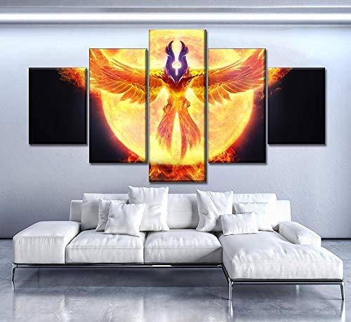 mmwin Decoración para el hogar Imprime 5 Piezas Dota 2 Fire Phoenix Moderno Arte de la Pared Lienzo Modular Poster Fondo de la cabecera