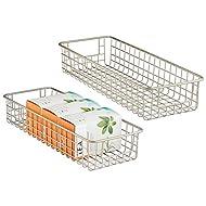 "mDesign Household Wire Drawer Organizer Tray, Storage Organizer Bin Basket, Built-In Handles - for Kitchen Cabinets, Drawers, Pantry, Closet, Bedroom, Bathroom - 16"" x 6"" x 3"" - 2 Pack - Satin"