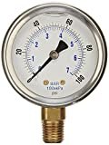 NEW STAINLESS STEEL LIQUID FILLED PRESSURE GAUGE WOG WATER OIL GAS 0 to 100 PSI LOWER MOUNT 0-100 PSI 1/4' NPT 2.5' FACE DIAL FOR COMPRESSOR HYDRAULIC AIR TANK