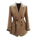 NOBRAND Retro de doble botonadura de oficina señoras a cuadros Blazer con cinturón de manga larga Houndstooth Blazer chaqueta para mujer