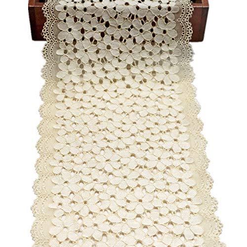 4.5 m Forget-me-no floral encaje cinta elástica bordado recorte ancho 18cm para costura artesanías boda fiesta decoraciones (beige)