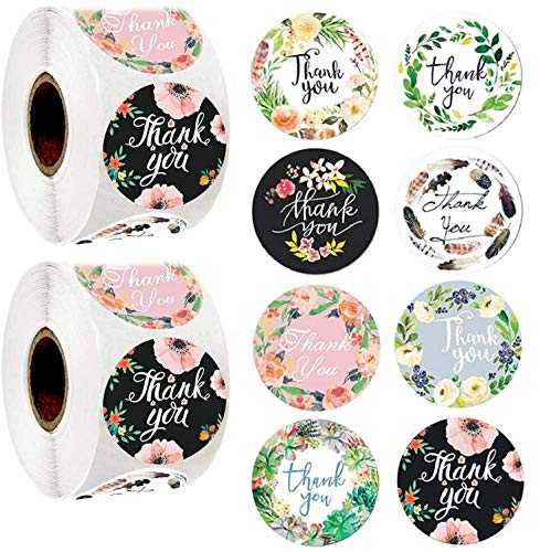 1000pcs 8 Different Design Thank You Stickers 1'' Round Adhesive Labels,500 Per Roll,Decorative Sealing Stickers for Christmas Gifts, Wedding, Party (A-17 8 Different Design)