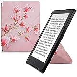 kwmobile Coque pour liseuse électronique Kobo Aura H2O Edition 2 - Coque Rabat liseuse en Simili Cuir - Étui de Protection Rose Clair-Blanc-Rose Ancien
