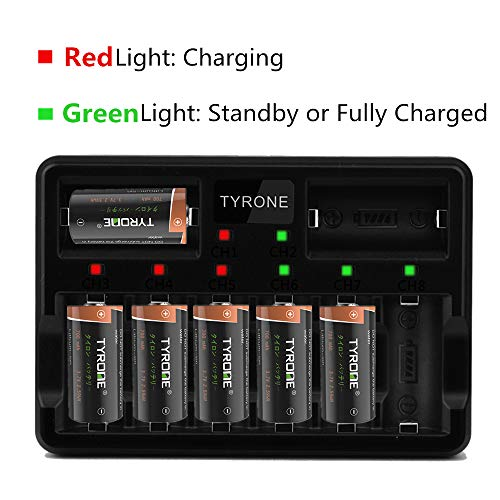 Arlo Batteries Rechargeable and Charger, Tyrone RCR123A Rechargeable Batteries for Arlo Wireless Cameras [ 16-Pack High Capacity 700mAh 3.7V Batteries with 8-Ports Fast Smart Charger ]