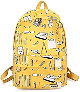 Yuanzengjunfva Female Bag Large Capacity Printing Campus College Students Junior high School Students Backpack Nylon Backpack (Color : Yellow)