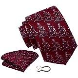 GUSLESON 8 cm Weihnachts-Krawatte, Einstecktuch und Krawattenklammer, Set mit Geschenkbox - - Allgemeines