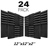 JBER 24 Pack Charcoal Acoustic Panels 2' X 12' X 12' Studio Foam Wedges Fireproof Soundproof Padding Wall Panels