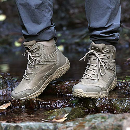 FREE SOLDIER Men's Waterproof Hiking Boots 6 Inches Lightweight Work Boots Military Tactical Boots Durable Combat Boots(Tan,10.5)