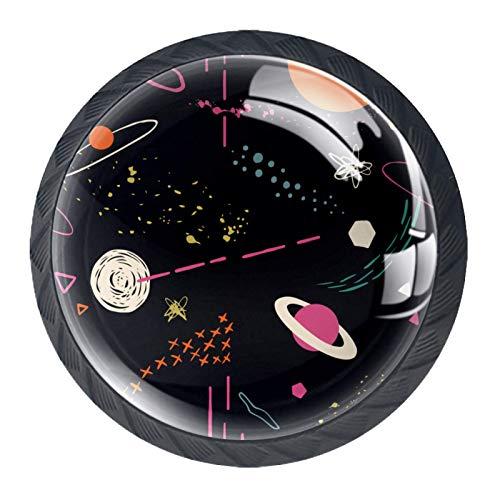 Perilla de cajón Espacio exterior negro Pomo para muebles negro cristal Perilla de puerta Redondo Tirador para muebles 4 Piezas Para Salón baño cocina dormitorio 3.5×2.8CM