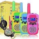 Jojoin Walkie Talkies Kinder mit Kompass und Hintergrundbeleuchteter LCD-Taschenlampe, 3km Lange Reichweite, Spielzeug