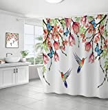 Yuang Hummingbird Shower Curtain Butterfly Floral Flower Bathroom Decor Vintage Garden Dynamic Nature Fabric Bathroom Set Hooks Included 12 Hooks 72 Inch Colorful