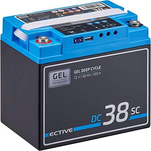 ECTIVE 38Ah 12V GEL Versorgungsbatterie DC 38sc mit LCD-Display Solar-Batterie mit integriertem PWM-Solarladeregler und Nachfüllpacks