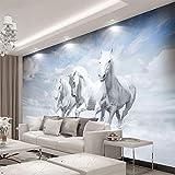 fotomurales infantiles niña Blanco animal caballo fotomurales autoadhesivos mural bebe 3D fotomurales salon dormitorio papel tapiz habitación infantil murales Fotomural dormitorio fotomurales tejido n