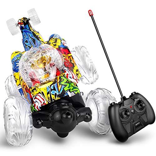 Swonuk Ferngesteuertes Auto, 360° Wiederaufladbar RC Stunt Auto Rennauto mit Musik und LED-Licht, Auto Spielzeug Rennfahrzeug für Kinder Jungen Mädchen (Graffiti)