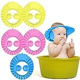 NEPAK 6 Piezas Gorro de Ducha de Bebé Ajustable,Suave Ajustable Con Protección Para Los Oídos Gorro de Ducha Utilizado Para El Baño de Bebé y La Seguridad Del Champú
