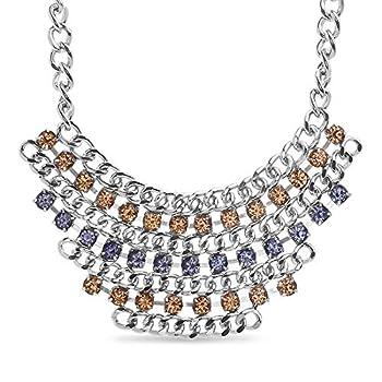 Steve Madden 16 Inch Silver Tone Purple and Orange Rhinestone Bib Statement Necklace For Women