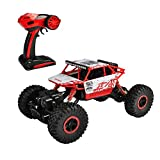 hapinic RC Car with Two Battery 4WD 2.4Ghz 1/18 Crawlers Off Road Vehicle Toy Remote Control Car Red Color