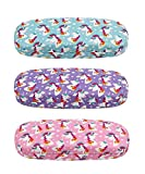 [3 PACK], JAVOedge Unicorn Pattern Medium Size Hard Eyeglass Storage Case Fits Most Glasses With Micro Cloth-Style B