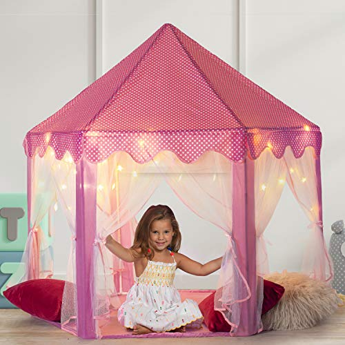 Play22 Kids Large Playhouse Tent – Kids Play Tent Princess Castle Pink - Play Tent House For Girls...