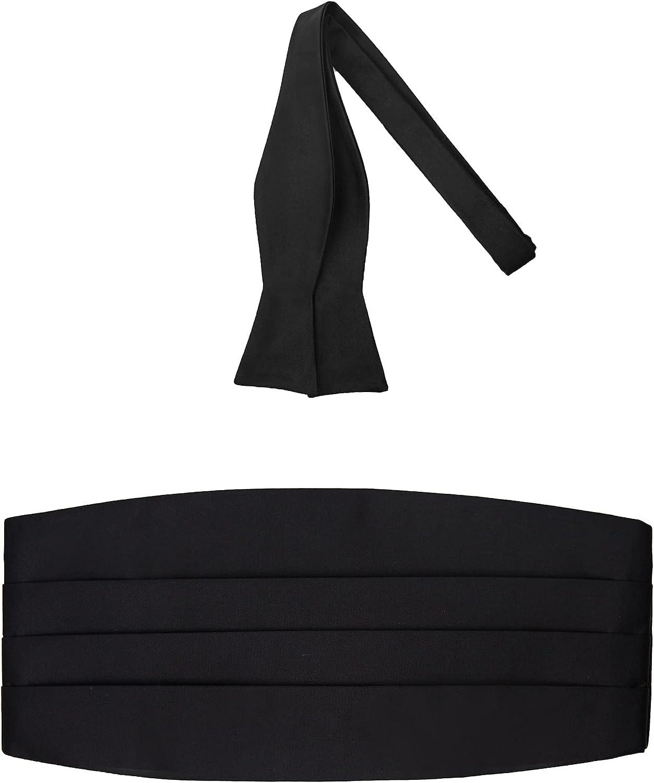 2 Piece Set: Jacob Alexander Men's Solid Color Cummerbund and Self-Tie Bow Tie