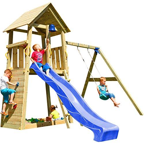 Blue Rabbit 2.0 Spielturm BELVEDERE mit Rutsche + Einzelschaukel, Kletterwand, Sandkasten Kletterturm Holzturm mit Holzdach Kiefer MASSIVHOLZ imprägniert (Blau)