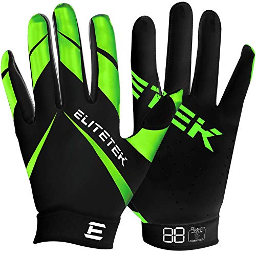 Kids EliteTek RG-14 Super Tight Fitting Football Gloves - Youth Sizes - Easy Slip On Design No Wrist Strap (Neon Green, Youth XS)