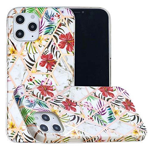 Miagon Marmor Hülle für iPhone 12 Pro,Dünn Weich Silikon Flexible Handyhülle Schutzhülle Galvanisiert Marble Bumper Handytasche Zurück Cover Gummi,Blatt Blume