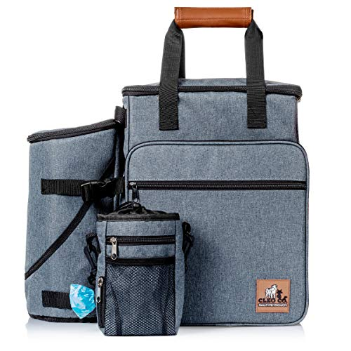 Cleo Co. Dog Travel Bag - Backpack Travel Kit for Pet Gear Includes Collapsible Food and Water Bowls, Flying Disk and Treat Pouch - Best for Organizing Dog Supplies for Easy Travel
