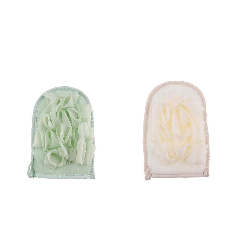 おばあさんの慈悲で絶滅chiwanji バスミット シャワー手袋 スポンジ 入浴用品 両面デザイン 竹繊維 垢すり用グローブ 泡立ち 毛穴清潔