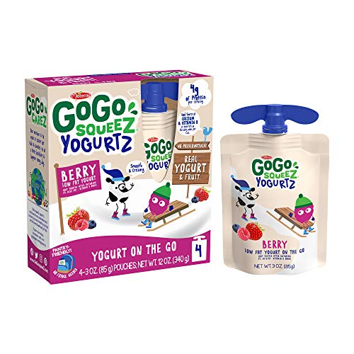 GoGo squeeZ yogurtZ, Berry, 3 Ounce (4 Pouches), Low Fat Yogurt, Gluten Free, Pantry-friendly, Recloseable, BPA Free Pouches