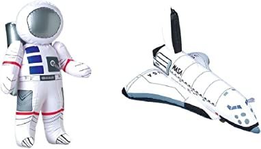 "Inflatable 23"" Astronaut and 17"" Space Shuttle - 2 Pc Set - Space Party Toys and Decorations (6 Pack)"