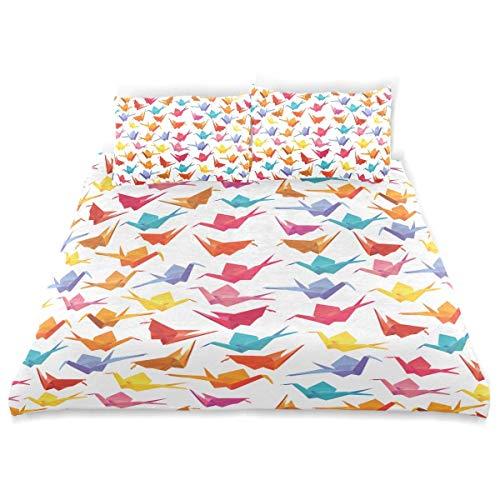 Juego de Funda nórdica 1000 grullas de Papel Colorful Origami Seamless Decorativo Juego de Cama de 3 Piezas con 2 Fundas de Almohada Fácil Cuidado Antialérgico Suave Suave