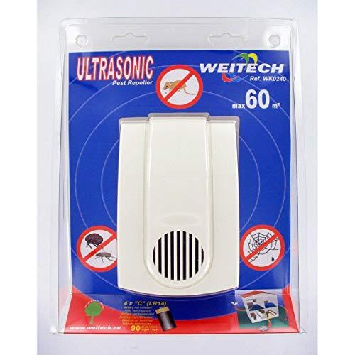 Weitech - Ultraschall Ungeziefer- und Mäusescheuche bis 60 m2 Batteriebetrieben