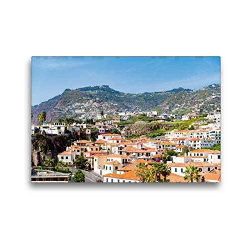 Premium Textil-Leinwand 45 x 30 cm Quer-Format Blick von Funchal auf die grünen Vulkanberge von Madeira in Portugal, Leinwanddruck von Hannelore Baron