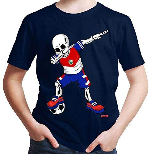 Hariz – Camiseta de fútbol, Dab Skelett Costa Rica, equipación de equipación con tarjetas de regalo Azul marino 104 cm 3-4 años