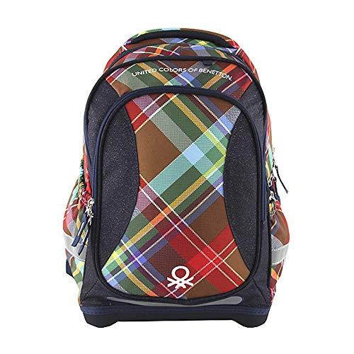 Benetton Backpack Schulrucksack, 46 cm, Mehrfarbig (Blue/Brown/Green/Red/Black)