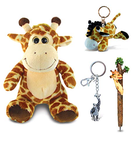 Puzzled Giraffe Bundle Set of 4 - Plush Keychain, Sparkling Keychain, Writing Pen & Stuffed Toy - Cute Kids & Adults Giraffe Wild Life Collection, Colorful Accessories for School & Office - 4 Pack