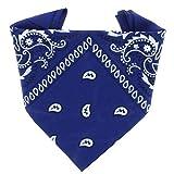 ...KARL LOVEN - Bandana 100% algodón - Paisley Azul real - Pañuelo para el cuello, cabeza bufanda para hombre, mujer y niño muñeca Pulsera motociclista Deportiva