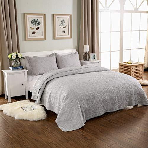 Qucover GesteppteTagesdecke aus Baumwolle inkl. 2 Kissenbezüge Übergroße Bettüberwurf mit Paisley-Muster (Grau, 250 x 270 cm)