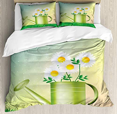 ABAKUHAUS Voorjaar Dekbedovertrekset, Watering Can Bloempot, Decoratieve 3-delige Bedset met 2 Sierslopen, 230 cm x 220 cm, Veelkleurig