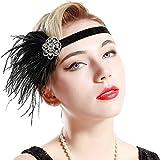 BABEYOND Años 20 Flapper Diadema de Plumas Diadema Gatsby Vintage Cinta para el Pelo con Cristal Accesorios Vintage Disfraz Gran Gatsby Fiesta Temática