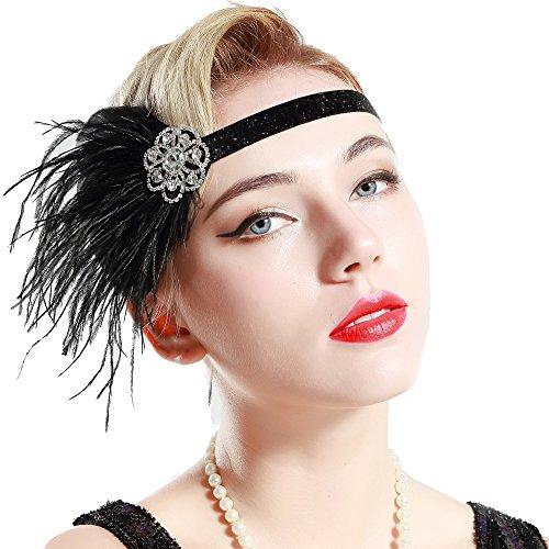 BABEYOND 1920s Feder Stirnband 20er Jahre Stil Art Deco Flapper Haarband Great Gatsby Stirnband Damen Kostüm Accessoires (Schwarz mit elastischem Band)
