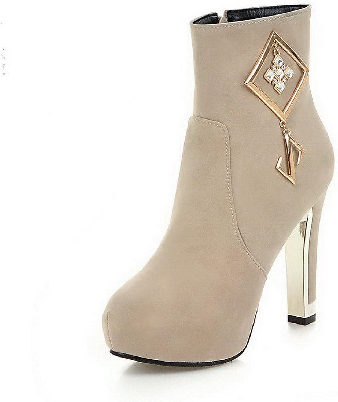 WeenFashion Women's Imitated Suede Low-top Solid Zipper High-Heels Boots