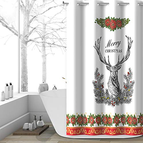 Lagute Christmas Hook Free Fabric Shower Curtain with Snap-in Liner, Water Repellent, Machine Washable, Hotel Grade, Heavy Duty, Winter Festive Bath Curtain, Black Single Deer, 71Wx74L