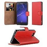 TPU para Sony Xperia nuevo Premium flip piel suave libro soporte Kickstand Funda tipo cartera lápiz táctil + Protector de pantalla y paño de pulido por panaaz, piel sintética, Sony Xperia Z3 Mini, Rojo
