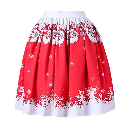 Topgrowth Gonna Donna Natale Santa Stampata Pieghe Gonne Vintage Casual Festa Swing Gonna Da Pattinatrice Mini A-Line Skirt