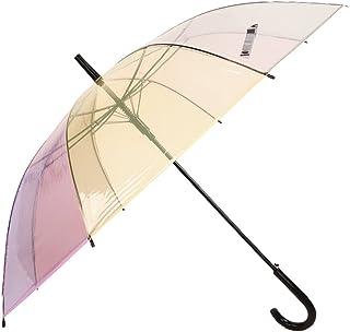 TH26 Transparent PVC Umbrella Rainbow Color Matching Umbrella Umbrella Small Fresh Korean Semi-Automatic Umbrella (Color : Clear)
