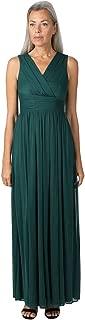 ONYX Nite Women's Sleeveless V-Neck Cross Over Bodice Long Chiffon Dress Gown