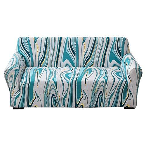 papasgix Fundas de Sofa 1/2/3/4 Plazas Ajustables Fundas elasticas para Sofas Cubierta para Sofa Antideslizante Lavable Decorativas Protector para Sofás para Perros Gatos(Azul Blanco-2,1 Plaza)