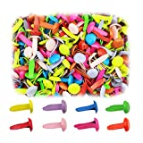 500 Pieces Colorful Brads Fasteners 8 x 12mm Mini Metal Bulk Brads Head Fasteners for Paper Crafts or...